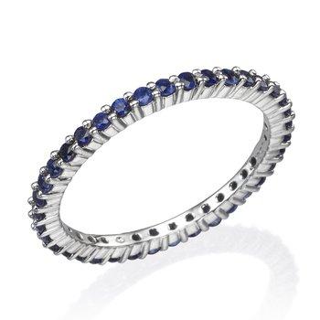 14K White Gold Blue Sapphire Eternity Band