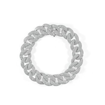 18K Gold Pave Diamond Chain Link Bracelet
