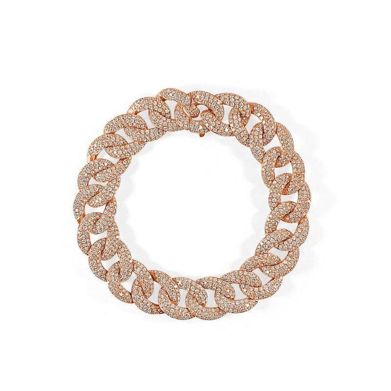 18K Gold Pave Diamond Chain Link Bracelet