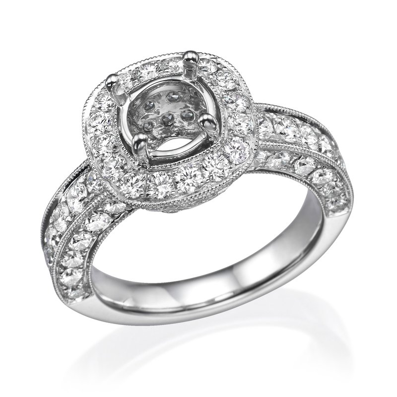 18K White Gold Vintage Halo Diamond Engagement Ring Mounting