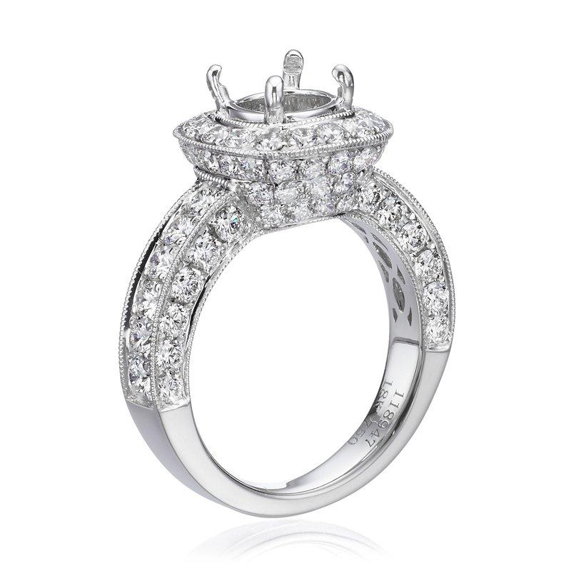 18K White Gold Vintage Halo Diamond Engagement Ring Mounting
