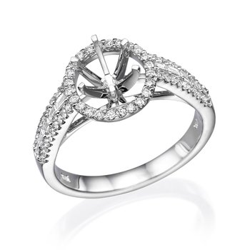 14K White Gold Halo Baguette And Round Diamond Engagement Ring Mounting