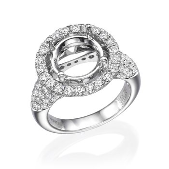 18K White Gold 1.19Ctw Diamond Mounting