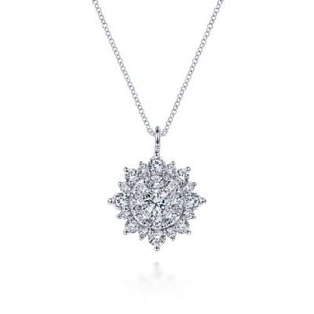 14K White Gold Diamond Star Burst Pendant