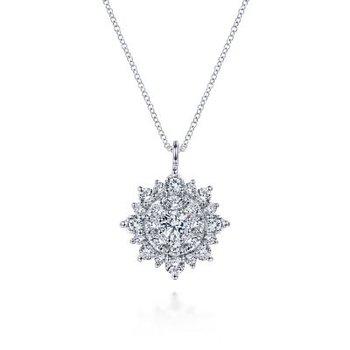 14K White Gold Diamond Star Burst Pendant