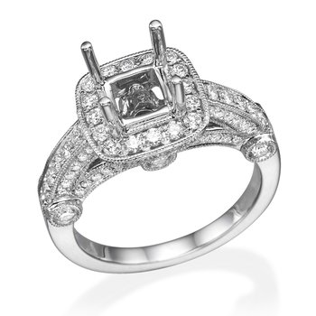 18K White Gold .95Ctw Halo Vintage Mounting