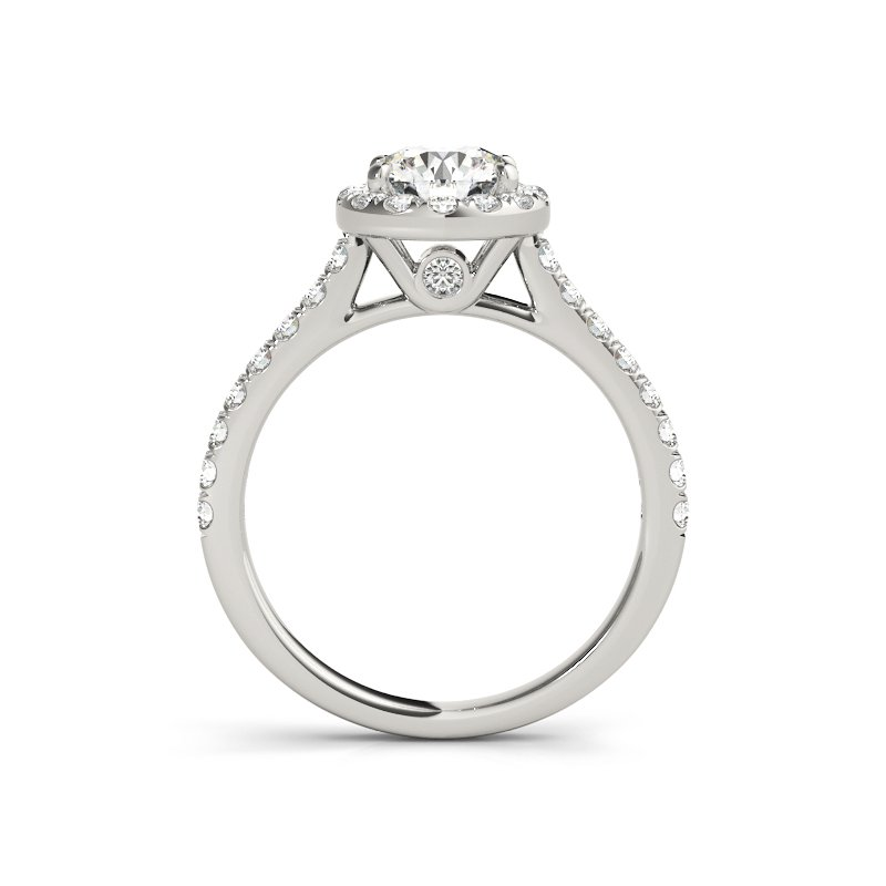 Classic Cathedral Round Halo Engagement Ring Mounting