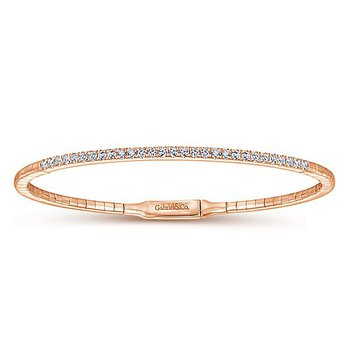 14K Rose Gold Classic Diamond Bangle Bracelet