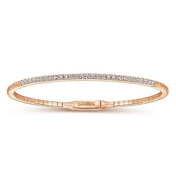 14K Rose Gold Classic Diamond Bangle Bracelet