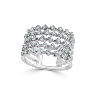14K Multiple Row Diamond Fashion Ring
