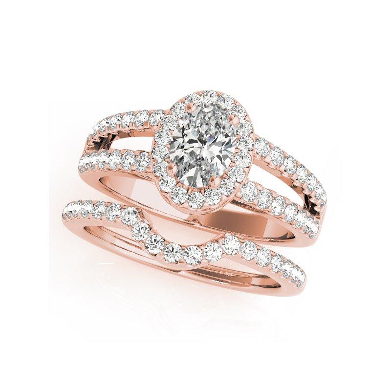 Oval Halo Split Band Diamond Engagement Ring Mounting