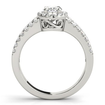 Oval Halo Split Band Diamond Engagement Ring Mounting