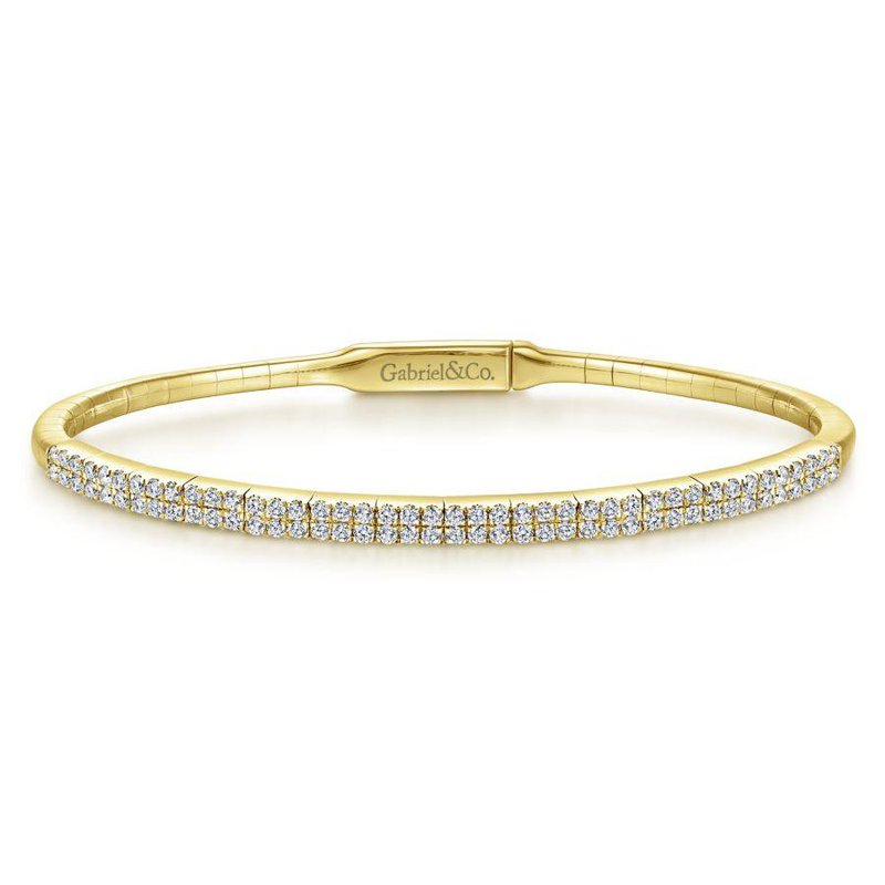14K Yellow Gold Pave Diamond Bangle Bracelet