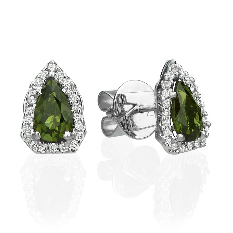 Green Tourmaline and Halo Diamond Stud Earrings