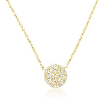 14K Gold Pave Diamond Disc Pendant