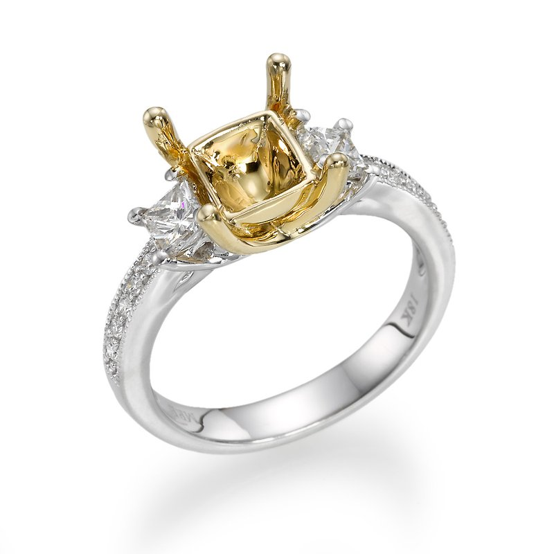 18K Two-Tone Vintage Three-Stone Engagement Ring Mounting