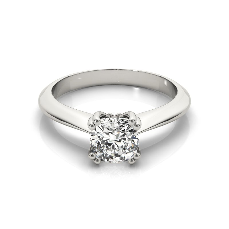 Double Prong Tapered Solitaire Cushion Engagement Ring Mounting