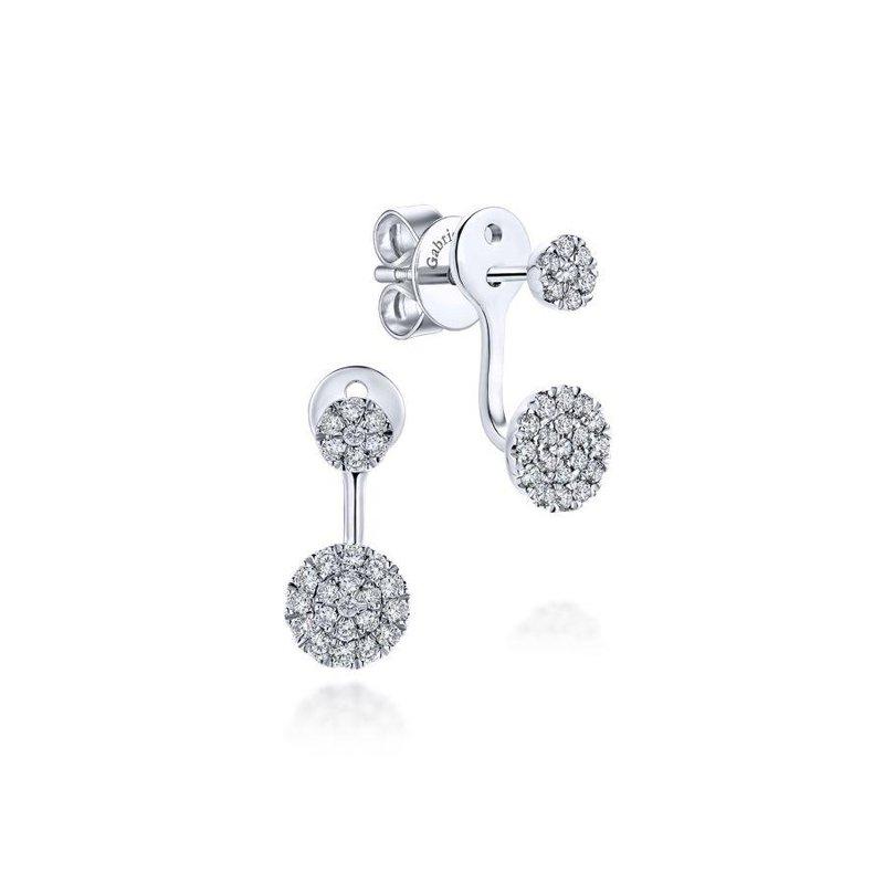 14K White Gold Diamond Disc Earrings