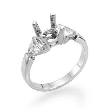 18K White Gold Trillion Three-Stone Engagement Ring Mounting