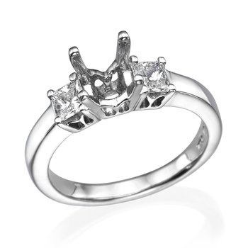 18K White Gold Classic Princess Cut Three-Stone Engagement Ring Mounting