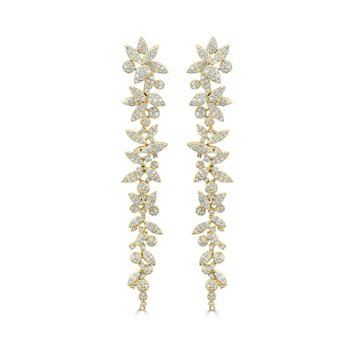 18K Gold Diamond Flower Dangle Earrings