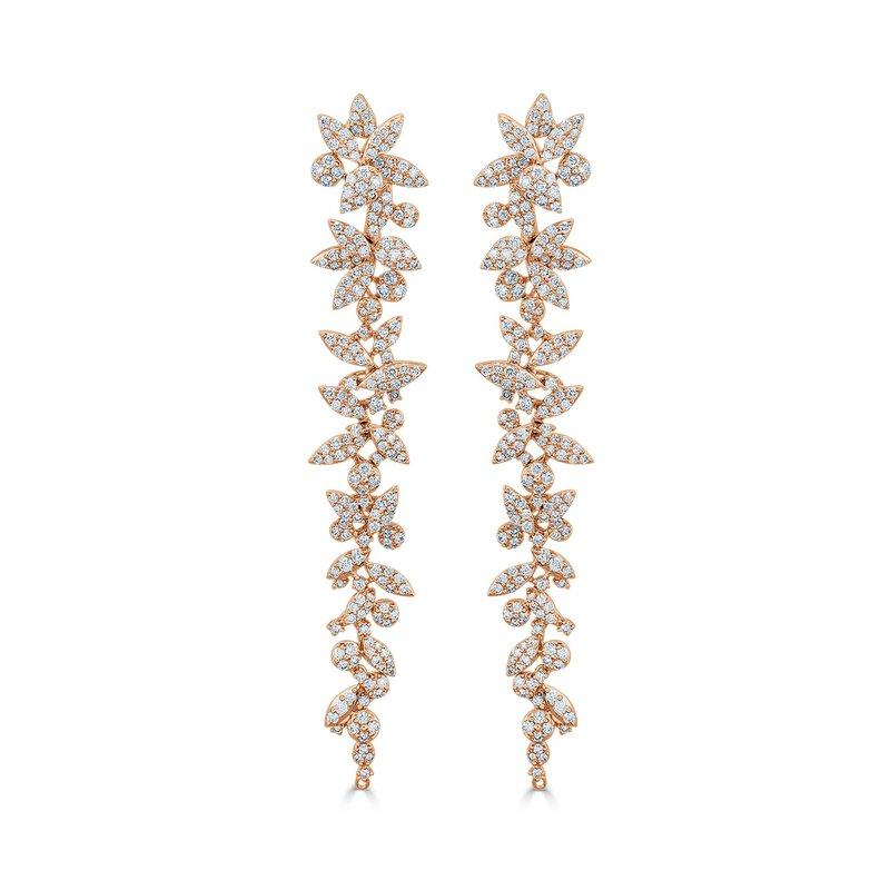 18K Gold Diamond Flower Dangle Earrings