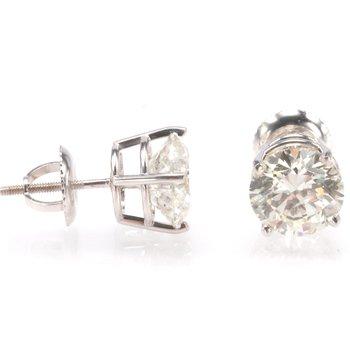 14K White Gold 3.03ctw Round Diamond Studs