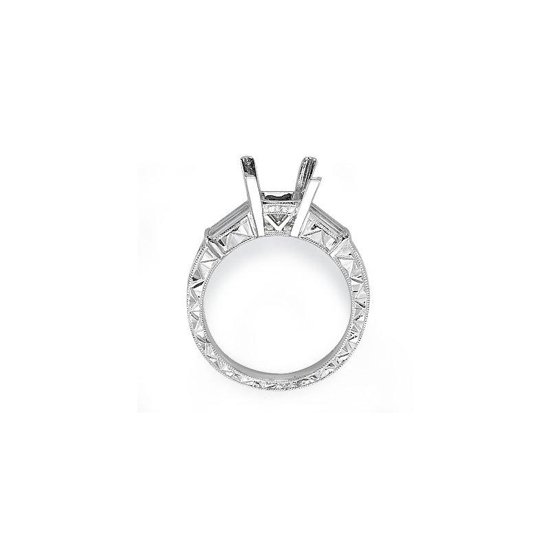 Platinum Vintage Baguette Three-Stone Engagement Ring Mounting