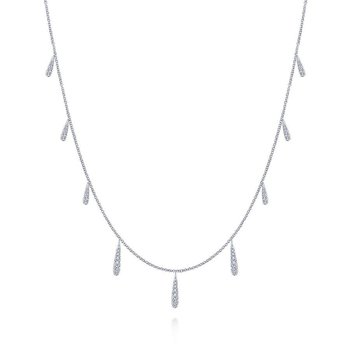 14K White Gold Diamond Multiple Drop Necklace