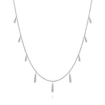 14K White Gold Diamond Multiple Drop Necklace