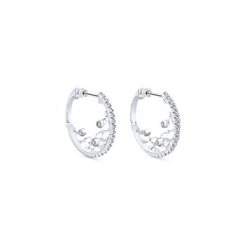 14K White Gold Diamond Filigree Detailed Hoop Earrings