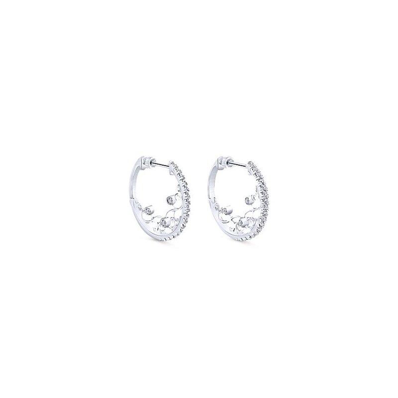 14K White Gold Diamond Filigree Detailed Hoop Earrings