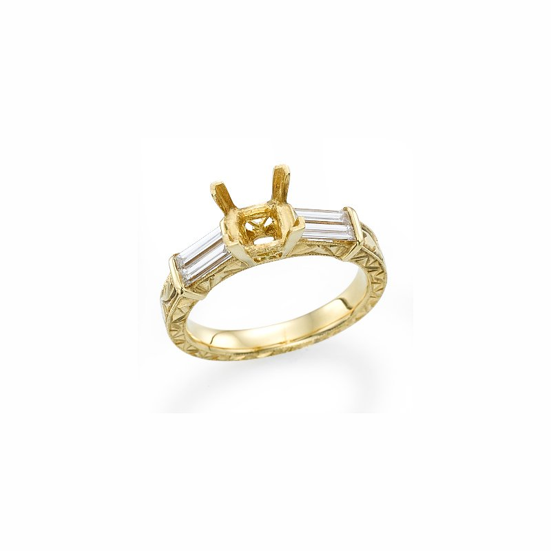 18K Yellow Gold Vintage Baguette Three-Stone Engagement Ring Mounting