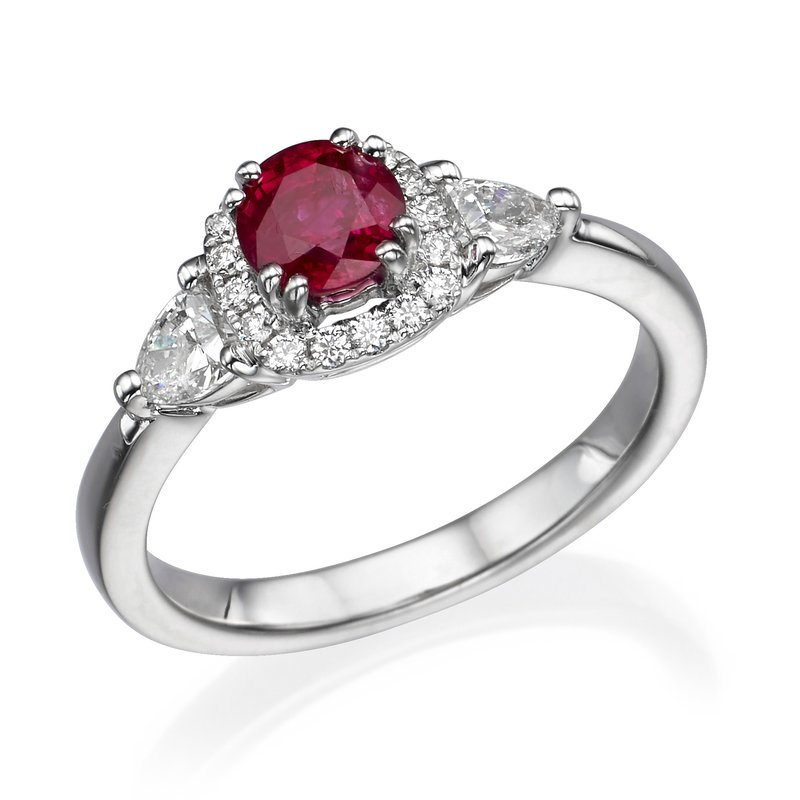 18K White Gold Ruby And Diamond Fashion Ring