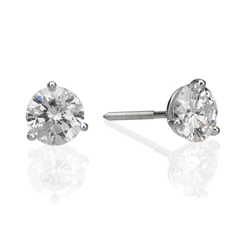 14K White Gold 1.45ctw Round Diamond Stud