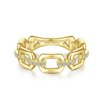 14K Yellow Gold Chain Link Fashion Ring