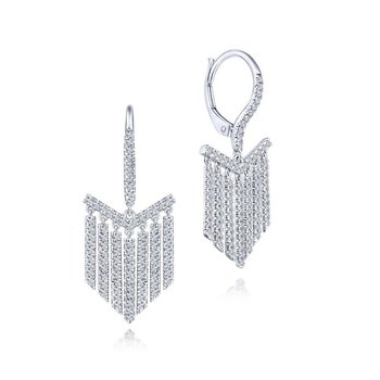 14K White Gold Dangle Fashion Earrings
