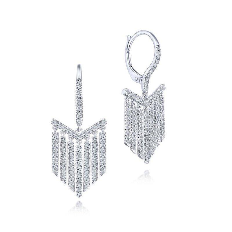 14K White Gold Dangle Fashion Earrings