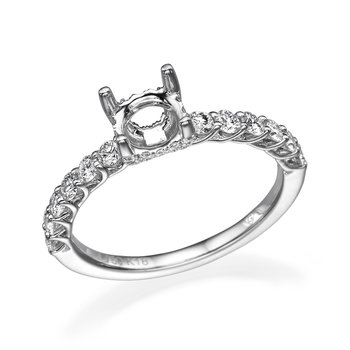 18K White Gold Engagement Mounting For Round Center Diamond