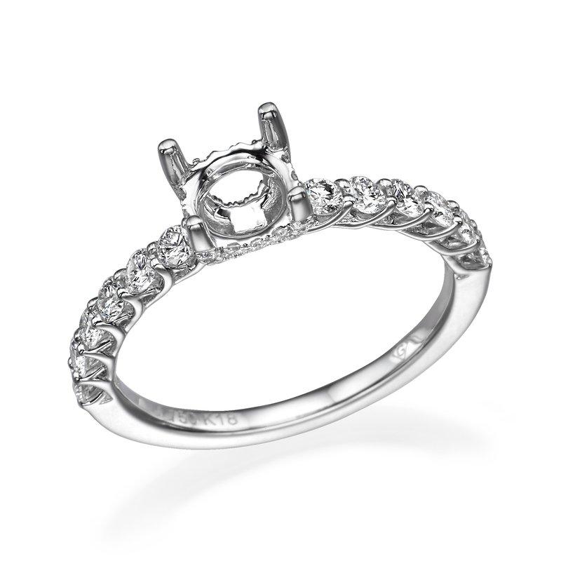 18K White Gold Engagement Mounting For Round Center Diamond