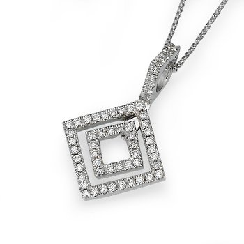 18K White Gold Geometric Diamond Pendant