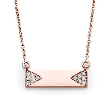 Modern Diamond And Gold Bar Pendant