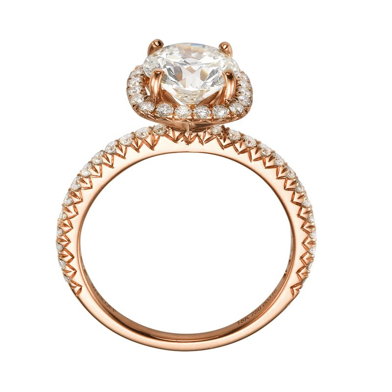 18K Rose Gold Delicate Halo Mounting