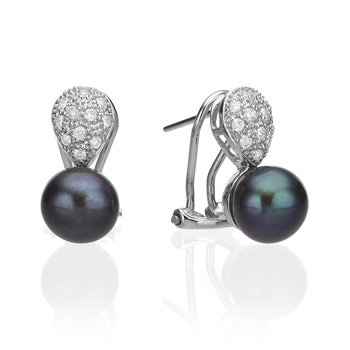 14K White Gold Pearl And Diamond Drop Earring