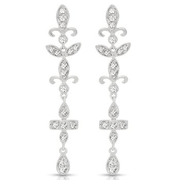 14K Vintage Diamond Dangle Earrings