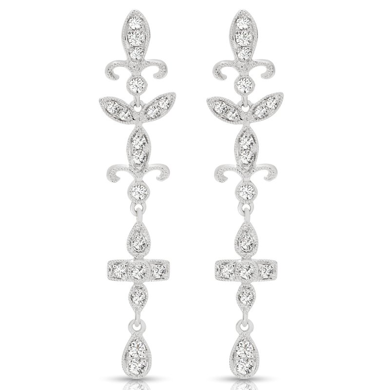 14K Vintage Diamond Dangle Earrings