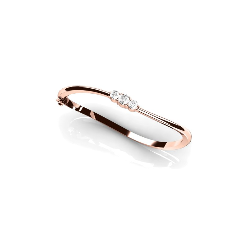Three-Stone Curved Bangle Bracelet