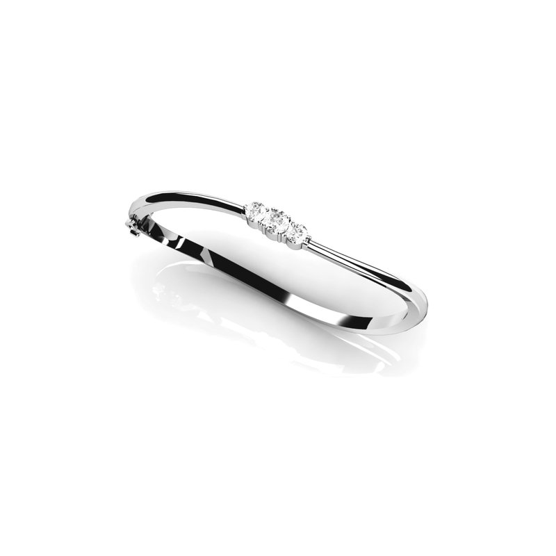 Three-Stone Curved Bangle Bracelet
