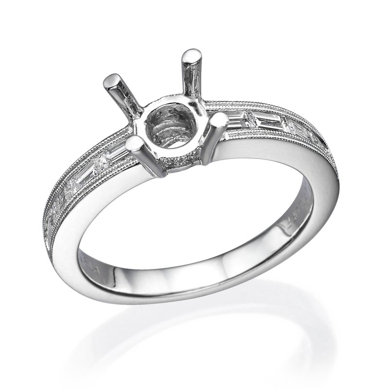 Platinum Baguette Milgrain Style Engagement Ring Mounting