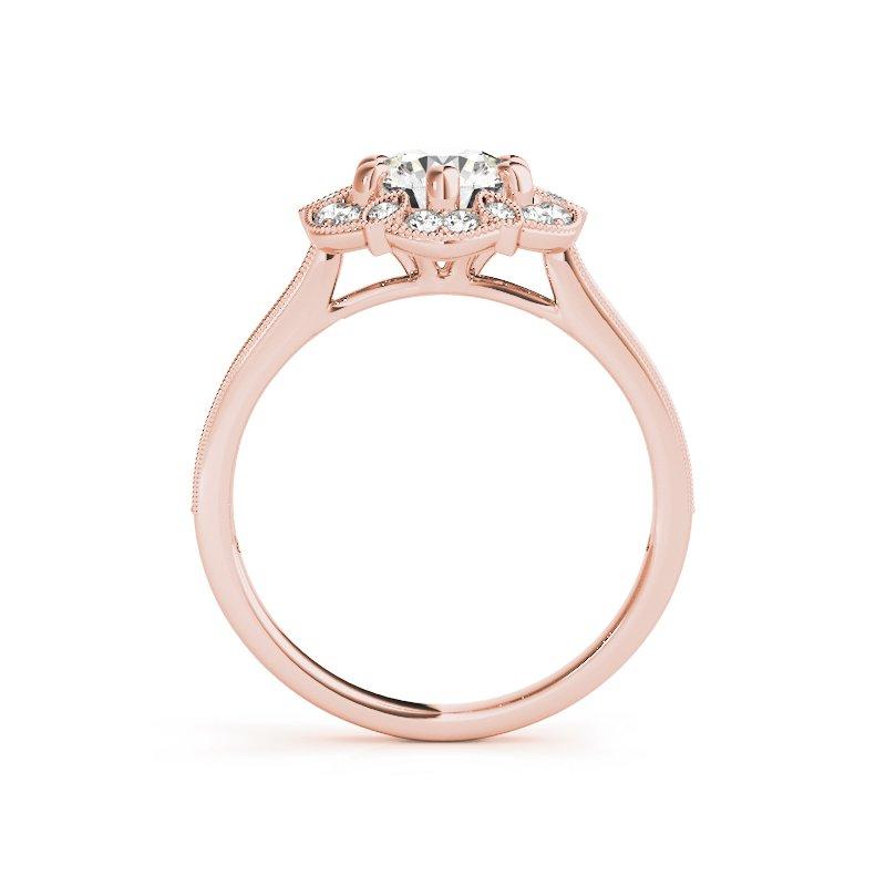 Vintage Inspired Milgrain Halo Engagement Ring Mounting